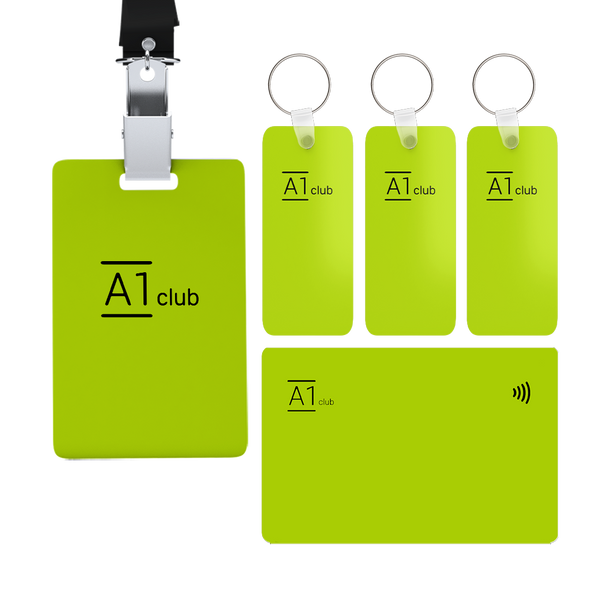 A1 Classic Card & Key Rings & Lanyard - Green & Black