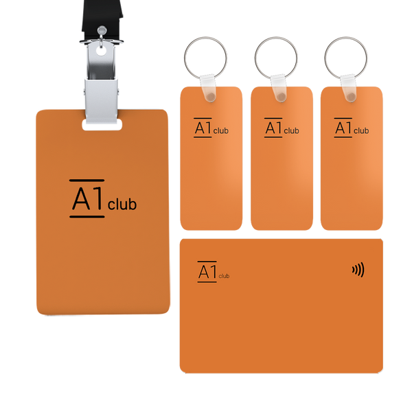 A1 Classic Card & Key Rings & Lanyard - Orange & Black