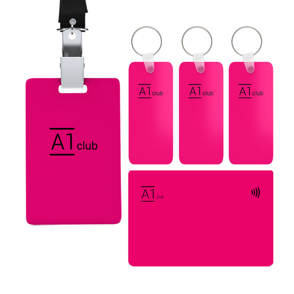 A1 Classic Card & Key Rings & Lanyard- Pink & Black