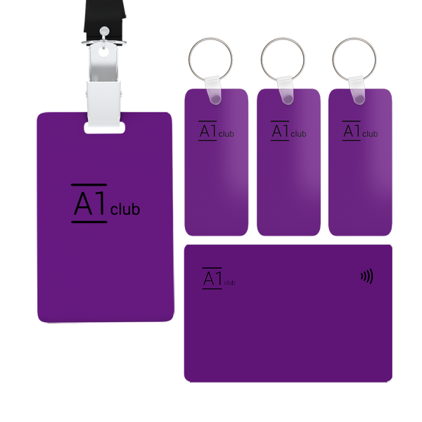 A1 Classic Card & Key Rings & Lanyard - Purple & Black