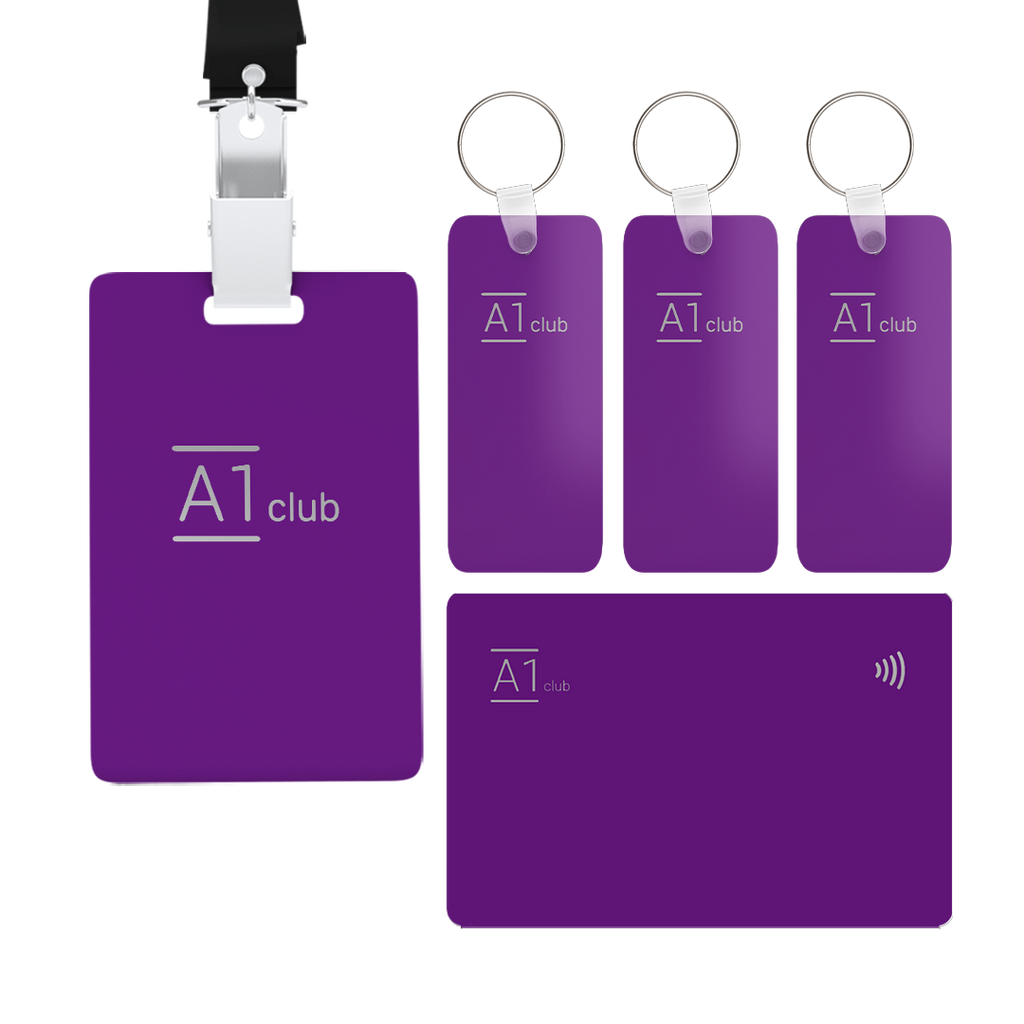 A1 Classic Card & Key Rings & Lanyard - Purple & Silver