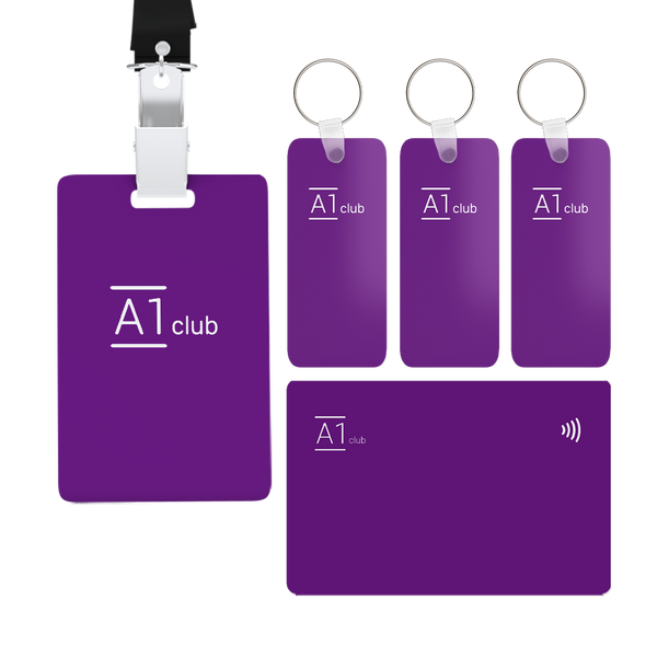 A1 Classic Card & Key Rings & Lanyard - Purple & White