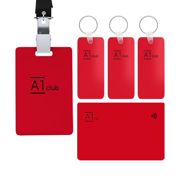A1 Classic Card & Key Rings & Lanyard - Red & Black