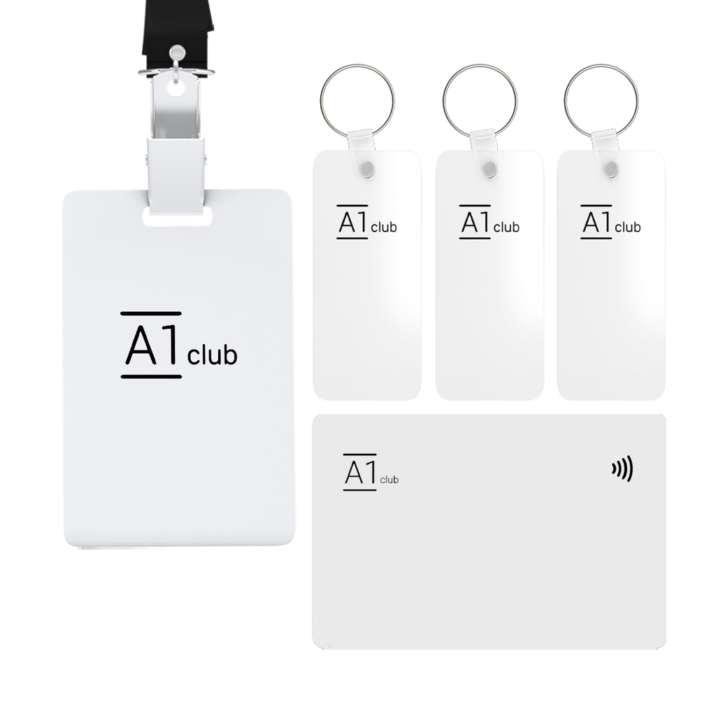 A1 Classic Card & Key Rings & Lanyard - White & Black
