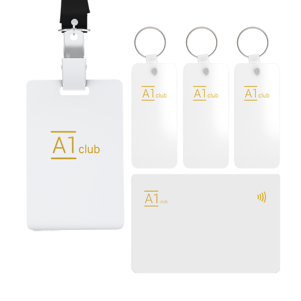 A1 Classic Card & Key Rings & Lanyard - White & Gold