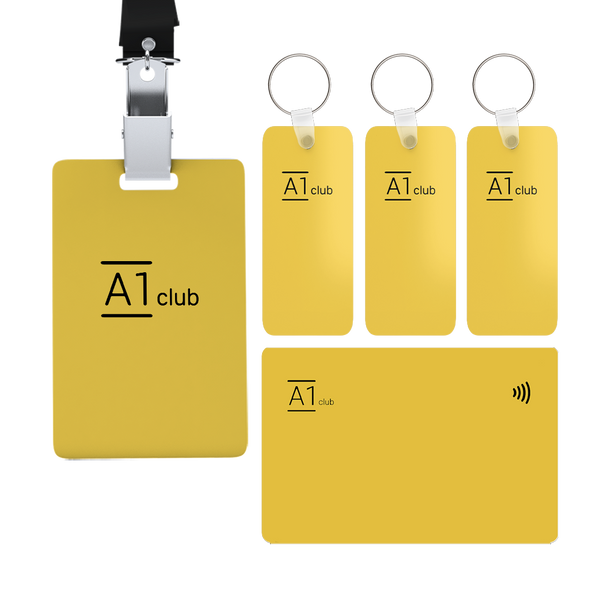 A1 Classic Card & Key Rings & Lanyard - Yellow & Black