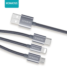 Load image into Gallery viewer, Romoss 3in1 Lightning Charge Sync|Micro USB |Type C to USB 1.5m Cable Grey