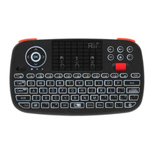 Load image into Gallery viewer, Rii Wireless QWERTY Backlit Gamepad Touchpad|Keyboard|Bumpers|Scroll Wheel Black