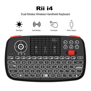 Rii Wireless QWERTY Backlit Gamepad Touchpad|Keyboard|Bumpers|Scroll Wheel Black