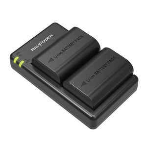 RAVPOWER 2x 2000mAh Replacement Batteries for Canon LP-E6(N) with Charger Set Black