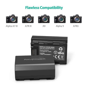 RAVPOWER 2x 2000mAh Replacement Batteries for Sony NP-FZ100 with Charger Set Black