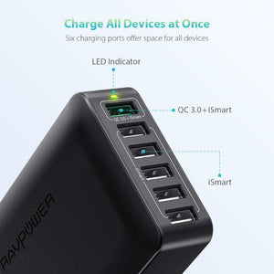 RAVPOWER 6 Port 60W 1xQC3.0|5xUSB Desktop with iSmart Charger - Black
