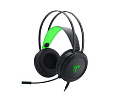 Load image into Gallery viewer, T-Dagger Ural Green Lighting|210cm Cable|3.5mm+USB|Uni-Directional Luminous Gooseneck Mic|50mm Bass Driver|Stereo Gaming Headset - Black/Green