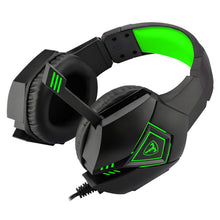 Load image into Gallery viewer, T-Dagger Rocky Green Lighting|210cm Cable|USB|Omni-Directional Luminous Snub Mic|40mm Bass Driver|Stereo Gaming Headset - Black/Green