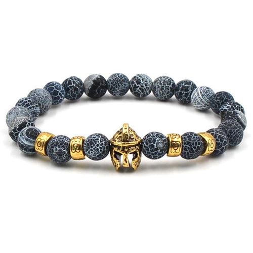 Argent Craft Black & White Agate Stone with Charms & Gold Knight Helmet