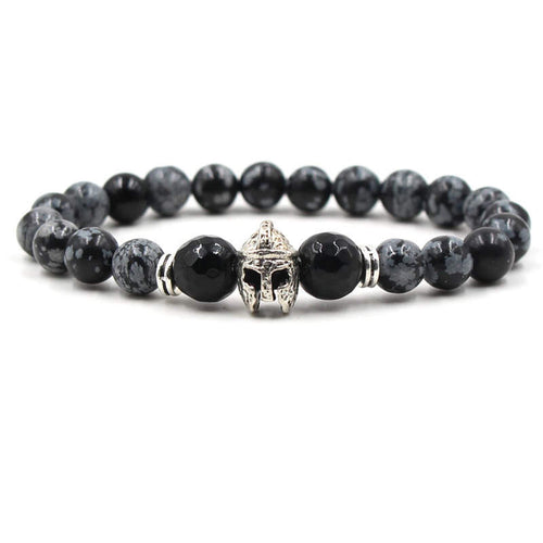 Argent Craft Natural Snowflake Obsidian & Black Onyx Bracelet with Knight Helmet (Silver)