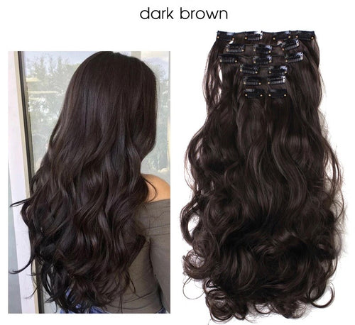 "Uniqo 7 Piece Clip In Synthetic Hair Extensions - 20"" - Dark Brown"