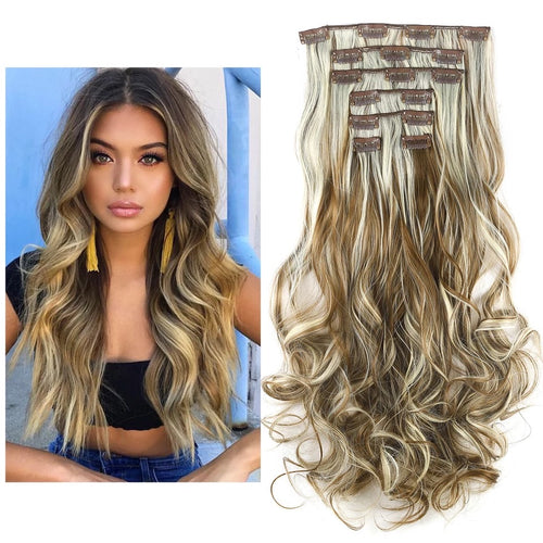 "Uniqo 7 Piece Clip In Synthetic Hair Extensions - 20"" - Honey Blonde"