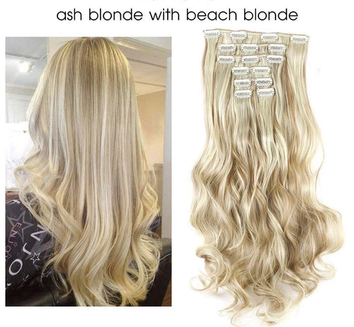 "Uniqo 7 Piece Clip In Synthetic Hair Extensions - 20"" - Ash Blonde With Beach Blonde"