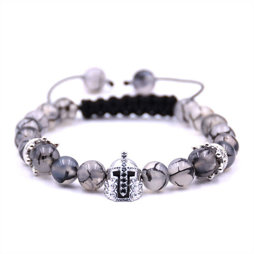 Argent Craft Chrystal Quartz With Crowns & Silver Knight Helmet Bracelet