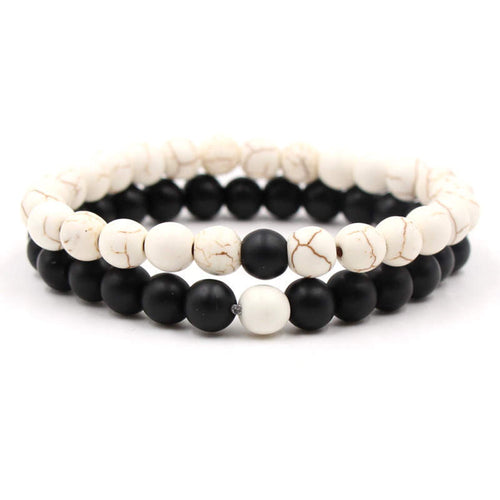 Argent Craft Natural White Howlite Stone & Black Agate Stone Couples Bracelet