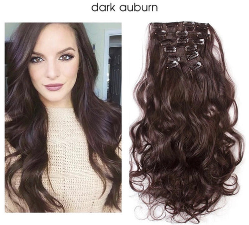 "Uniqo 7 Piece Clip In Synthetic Hair Extensions - 20"" - Dark Auburn"