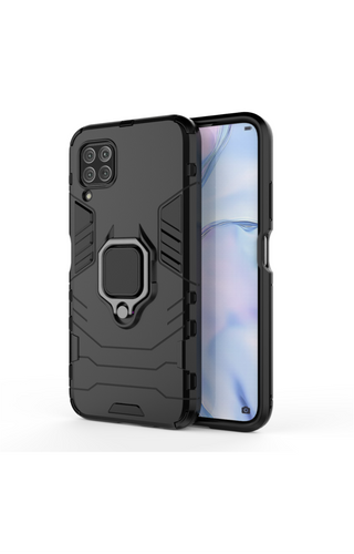 Huawei P40 Lite Shockproof Black Panther Magnetic Ring Stand Cover - Black