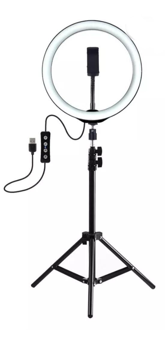 "Selfie Ring Light 12"" with Tripod Stand & Cellphone Holder - Pink"