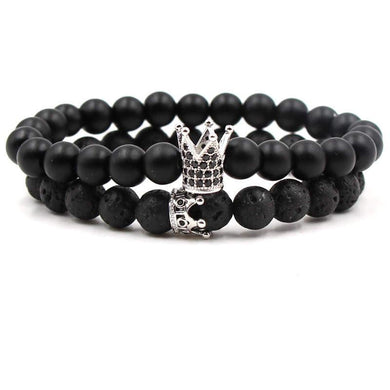 Argent Craft Natural Lava Stone & Black Matte Agate Stone Couples Bracelet with King and Queen Crown With Zirconia (Silver)