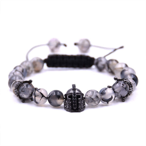Argent Craft Chrystal Quartz With Crowns & Black Knight Helmet Bracelet