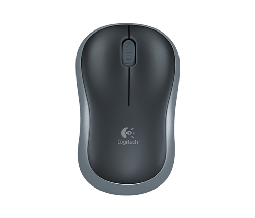 Logitech Wireless Mouse M185 (Black & Swift Grey) Nano USB receiver 3 buttons optical tracking with wheel 10m range 12-month bat