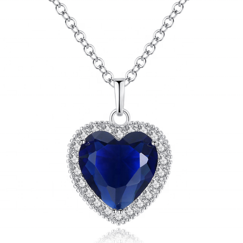 Diva Titanic Ocean Heart Pendant Necklace with Blue Crystal Rhinestone