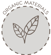 "An circle icon picturing two leaves with the words ""Organic Materials"" over the top"