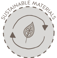 "An circle icon picturing a leaf and circular arrows with the words ""Sustainable Materials"" over the top"