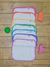 Load image into Gallery viewer, 7 Poco Bambino reusable wipes made from Bamboo Terry with an organic cotton rainbow trim