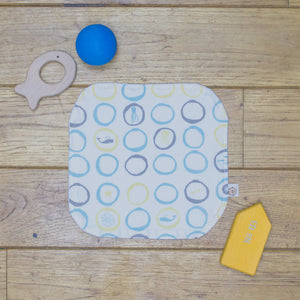 An Organic Poco Bambino reusable wash cloth / wipe in a sea creatures print.