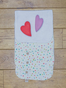 A set of 5 Organic Poco Bambino reusable wash cloths / wipes in a multicoloured spots print. The top wipe is folded down to show the soft bamboo terry reverse.