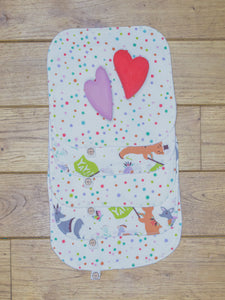 A set of 5 Organic Poco Bambino reusable wash cloths / wipes in multicoloured spots and animal parade prints.