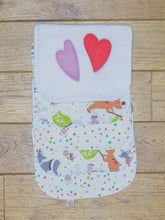 Load image into Gallery viewer, A set of 5 Organic Poco Bambino reusable wash cloths / wipes in multicoloured spots and animal parade prints. The top wipe is folded down to show the soft bamboo terry reverse.