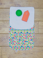 Load image into Gallery viewer, A set of 5 Organic Poco Bambino reusable wash cloths / wipes in a rainbow dots print. The top wipe is folded down to show the soft bamboo terry reverse.