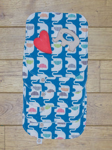 A set of 5 Organic Poco Bambino reusable wash cloths / wipes in a blue print with rainbow elephants.