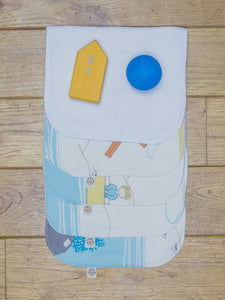 A set of 5 Organic Poco Bambino reusable wash cloths / wipes in a variety of seaside designs. The top wipe is folded down to show the soft bamboo terry reverse.
