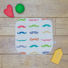 Load image into Gallery viewer, An Organic Poco Bambino reusable wash cloth / wipe in a rainbow mustaches print.
