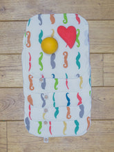 Load image into Gallery viewer, A set of 5 Organic Poco Bambino reusable wash cloths / wipes in a rainbow mustaches print
