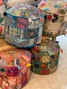 Patchwork Embroidered Pouffes by Shiva Designs Bespoke