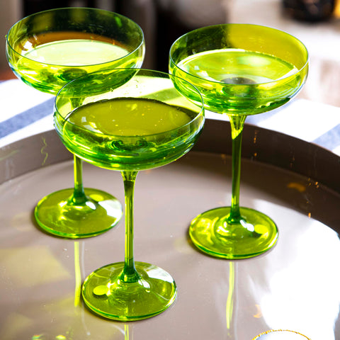 Champagne Coupes by Estelle Coloured Glass