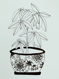 Floral Pot Plant - Botany Lane Prints by Kate Durham