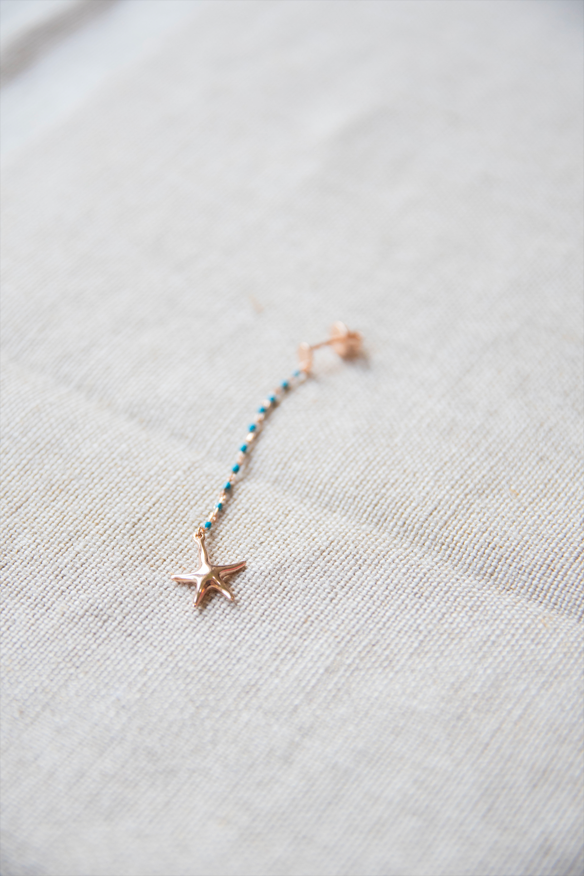 Rose Gold Sea Inspired Single Earring by Shiva Designs Bespoke