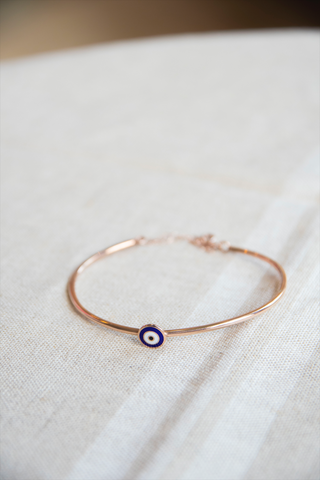Rose Gold Evil Eye Bangle