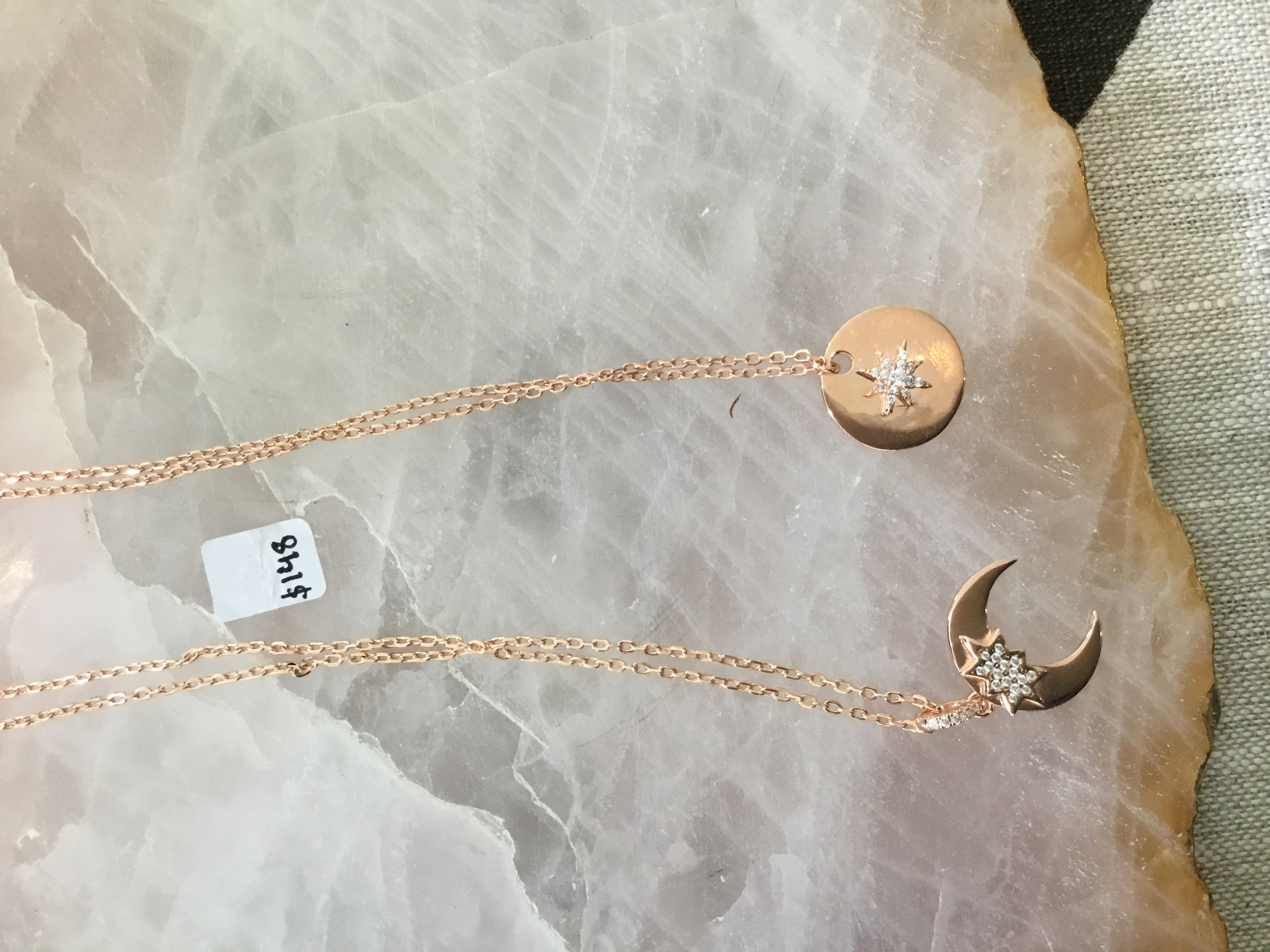Rose gold necklaces with diamonte stars